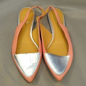 Pilcro & the letterpress silver and pink flats